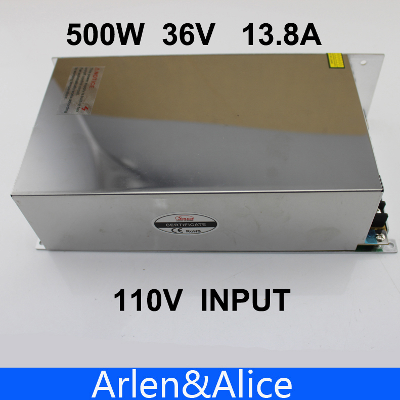 500W 36V 13.8A 110V INPUT Single Output Switching power supply for LED Strip light AC to DC<br>