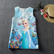 2017 Summer Baby Girl Dress Fever 2 Princess Anna Elsa Dress Vestidos Butterfly Print Party Dress Kids Elza Costume Kids Clothes