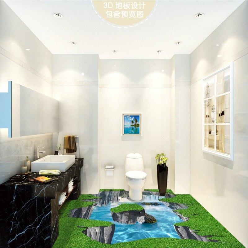 Free Shipping 3D space waterfall river outdoor floor non-slip waterproof bedroom living room bathroom square flooring mural<br><br>Aliexpress