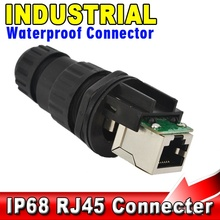 RJ45 Network Cable Port Socket Panel Mount Industrial IP68 Waterproof Wire Connectors Adapter Network Lan socket panel mount