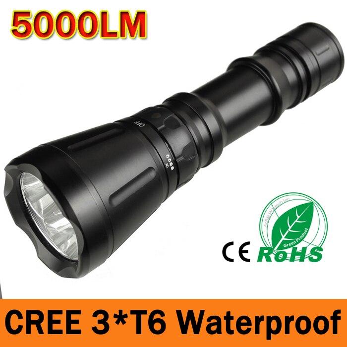 3*CREE XM-L T6 5000LM Waterproof 5-Mode LED Diving Flashlight Torch Brightness 60m LED Torch Lanterna Torche<br><br>Aliexpress
