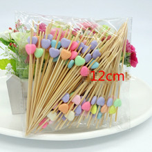 100pc decoration Bamboo Food Picks Cupcake Toppers fruit fork Sticks Buffet Cocktail forks Wedding Festival Decorations birthday(China)
