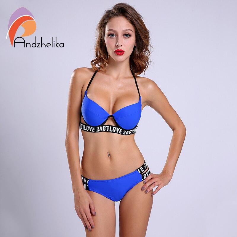 Andzhelika 2017 New Summer Bikini Set Push Up Swimwear Halter Strapless Thong Bikini Padded Swimsuit Brazilian Biquini LD393<br><br>Aliexpress