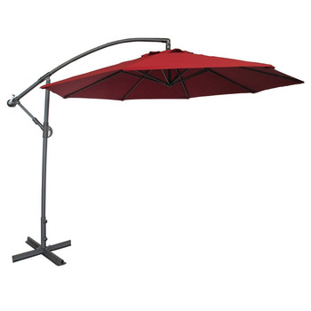 Abba Patio 10 Ft Offset Cantilever Patio Umbrella with Base and Crank Air Vented Top Red
