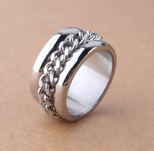 Gothic Personality Chain Ring1.2CM Sliver Bright Man's Goth 316L Stainless Steel Fashion 2014 Accessories jewelry