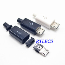 100 sets DIY Micro USB 2.0 Type B Male 5pin 4 parts in 1 Assembly Connector Plug Socket wire / USB Cable solder type