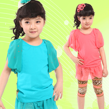 2017 Summer Girl Clothing Sets Cotton Fashion Kid Suits Short Sleeve Kid Outfits Patchwork T-Shirt+Pants Clothes Collection Sets
