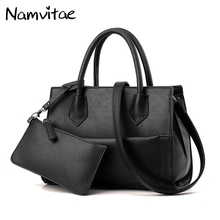 Namvitae Fashion 2 Bags/Set Women Handbags PU Leather Tote Shoulder Bag Purse Sets Famous Brands Ladies Work Satchel Bag Handbag