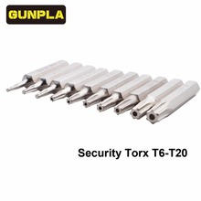 Gunpla 10-Piece Chrome Vanadium Steel Torx Bit Driver Set Includes T3,T4,T5,T6,T7,T8,T9,T10,T15,T20(T6-T20 Security torx)(China)