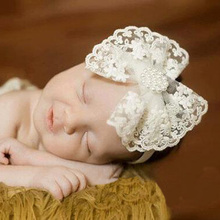 Lovely Kids Headband Rhinestone Pearl Lace Bow Headbands Kids Hair Bands Hair Accessories Newborn Photography props(China)