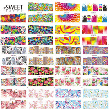 48Sheets Flower/Leopard/Fantasy Nail Art Water Transfer Stickers Beauty Full Wraps Mixed Decals Sweet Manicure Decor LABN073-120