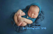 Hand knit baby romper Newborn baby clothes Photography prop Newborn hooded romper Baby hat and pant set Photo prop(China)