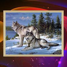 2017 Diamond Painting Round Diamond Embroidery - 5d Wolf Counted Cross Stitch Kits Embroidered Paste Painting The Living Room(China)