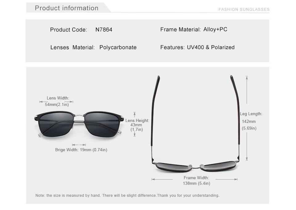 Unisex Classic Square Sunglasses N7864