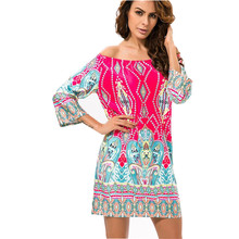 Fashion European Style Robe Dress Flower Print Woman Clothes Vestidos Casual Bohemian Female Beach Summer Night Club Party Dress