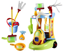 New Girls play house toys Simulation children cleaning trolley with vacuum cleaner tools hygiene Girls gifts