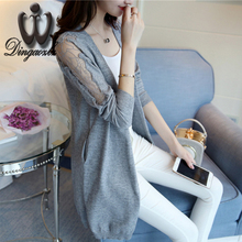 Dingaozlz autumn Korean Slim long sleeve mesh stitching lace sweater tops long section sweater cardigan