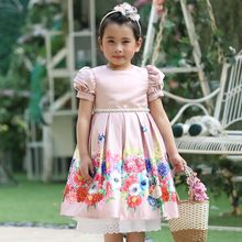 Pettigirl Latest Girl Flower Dress Pink Floral Draped Princess Dress With Hairhand Boutique Children Clothing G-DMGD911-1098(China)