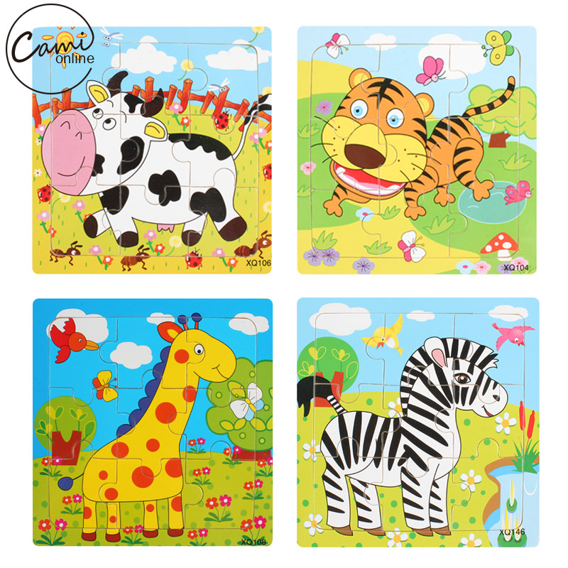 Educational 3D Cartoon Animals Wooden Jigsaw Puzzles Toys Kids Baby Games Toy Wood Puzzle Children Intelligence Development Toys<br><br>Aliexpress