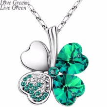 Women`s Day factory hotsell Austrian Crystal four Leaf Leaves Clover heart rhinestones necklace pendant jewelry 9554(China)
