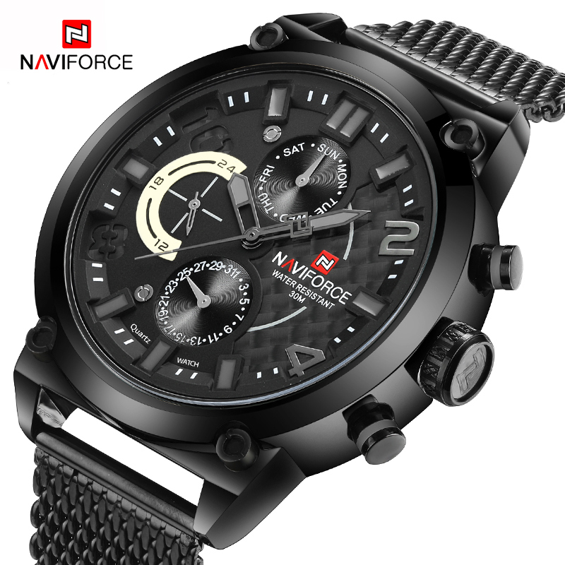 NAVIFORCE Men Fashion Casual Mesh Band Quartz Watch Luxury Brand Mens Sports Watches Waterproof Wristwatches Relogio Masculino<br>
