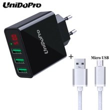 3Port USB LED Display 2.4A Max EU Plug AC Charger + 3FT Micro USB Cable for Chuwi Ebook Hi8 Hi10 Vi8 Vi7 Vi10 Pro V17HD 3G VX8