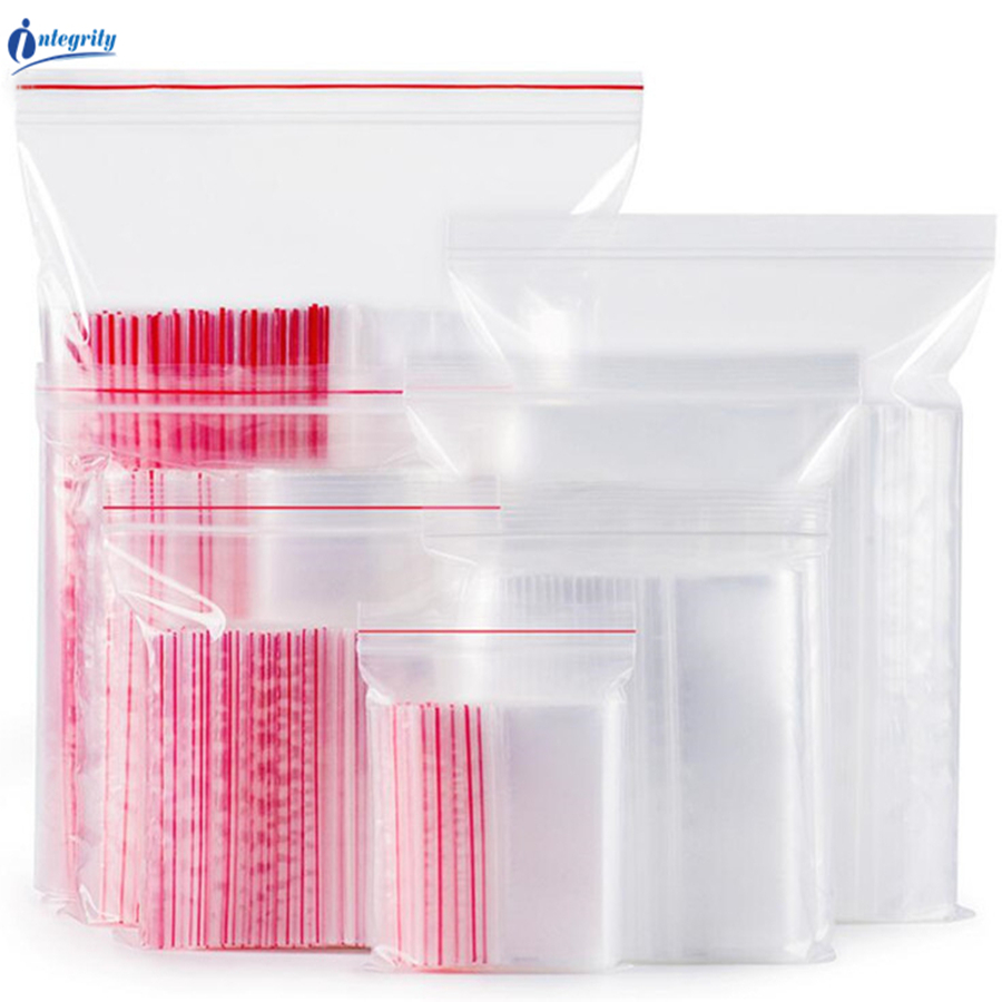 INTEGRITY Various size Transparent Self Sealing Gift/Cookie/Cloth storage pouches Reusable Clear Zip lock plastic packaging bags title=