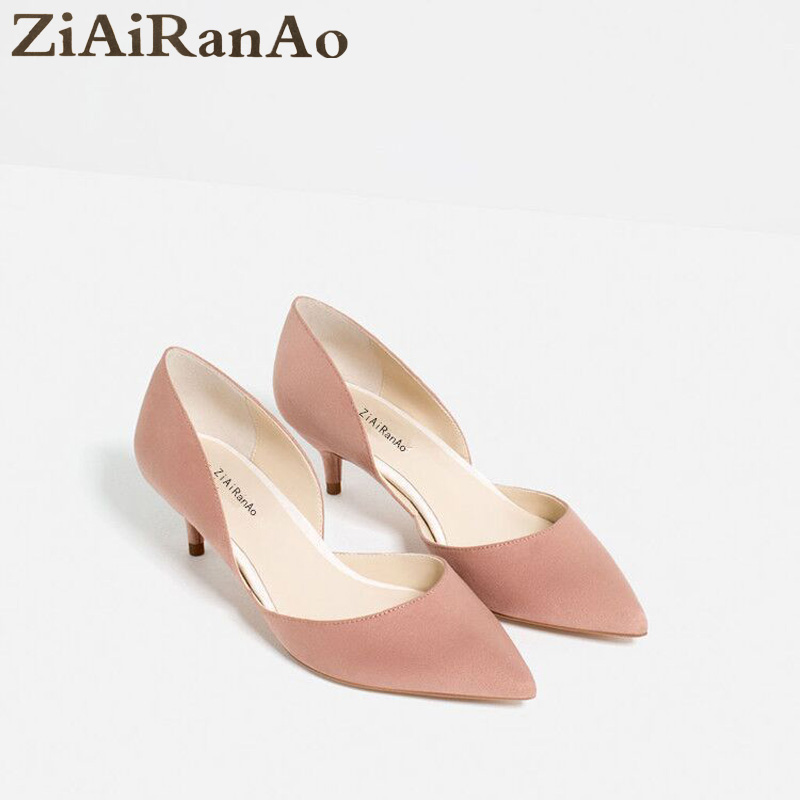 New Arrival Full Season Shoes Woman Casual Pointed Toe Women Pumps Fashion Shallow Womens Shoes Slip On Flock 5 CM High Heels<br>