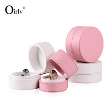 Oirlv Free Shipping Stylish Necklace Pendant Finger Ring Box Round Shape PU Leather Gift Boxes For Booth Display Exhibitor