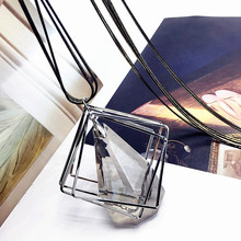 Big Water Drop Trapezoidal Long Paragraph Sweater Chain All-match Decorative Crystal Rhinestone Pendant Necklace Women Jewelry(China)