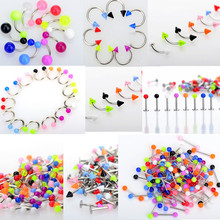 5pcs 9 Style Stainless Steel UV Piercing Eyebrow Navel Belly Tongue Lip Bar Ring Spike & Ball Labret Lip Body Jewelry