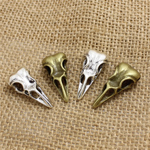 PULCHRITUDE 15 pcs 31*15*9mm 3D Skull Birdhead Charms Vintage Metal  Trendy Animals Bird Pendant Charms for Jewelry  T0478
