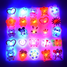 25PCS/lot Funny Design Lovely LED Flashing Badge pins For Party for Children Decoration(China)
