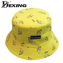 [Dexing ] banana Panama sad boy bucket hat black street Bucket Hats men Hip Hop skateboard cotton letter Fashion Bob Caps(China)