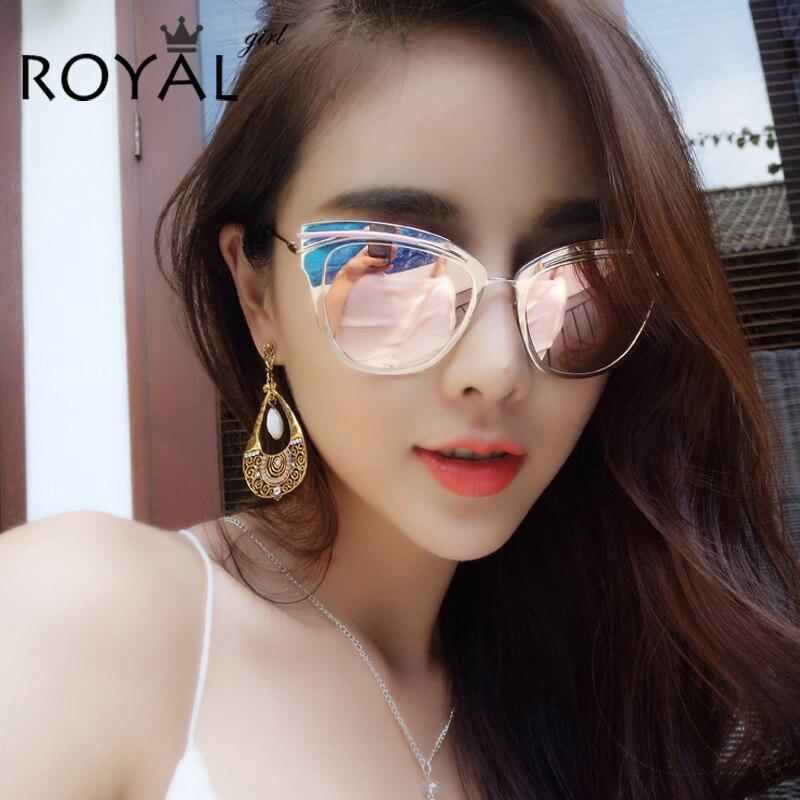 ROYAL GIRL New Brand Designer Women Sunglasses Metal Cat Eye Shaped Retro Mirrored Male Glasses ss441<br><br>Aliexpress