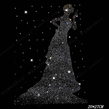 The girl wearing the dress motif hot fix rhinestone transfer motifs iron on applique patch for shirt design stone Wedding dress