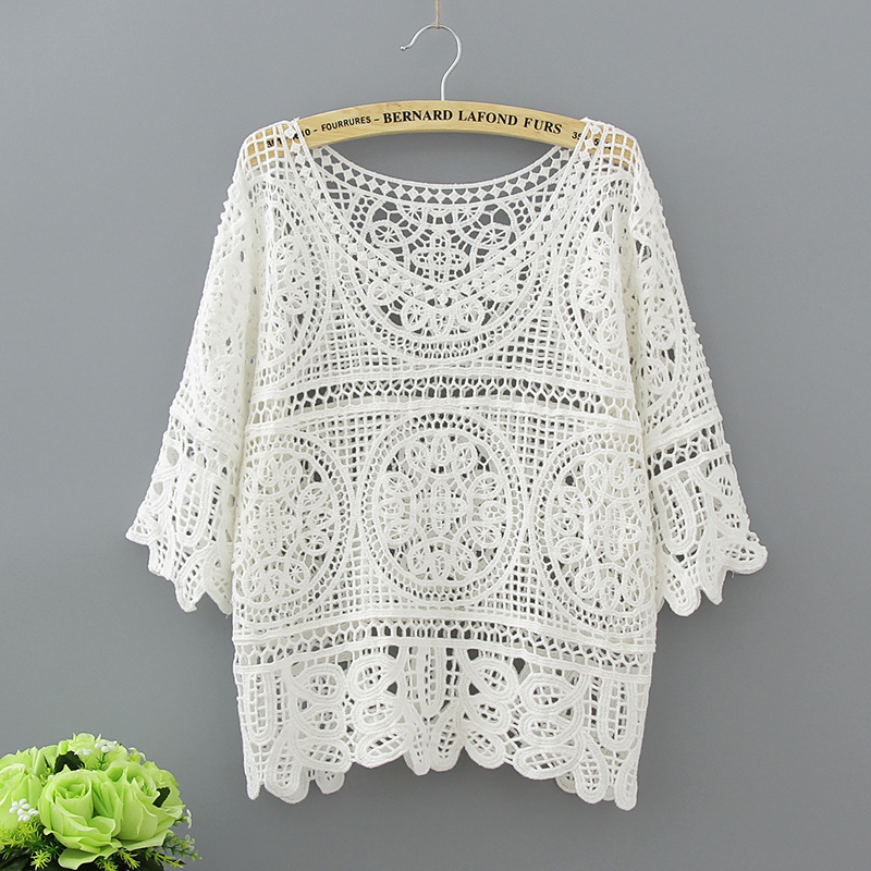 Hollow White Blouse Fashion 2017 Summer Crochet Lace Tops Women Transparent Casual Loose Sexy Blouses Womens Clothing 1809