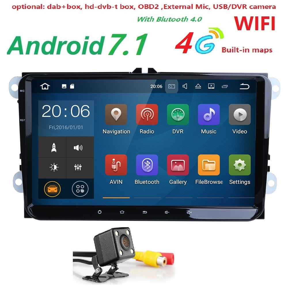 2 Din 9 inch Quad core Android 7.1 car dvd GPS for VW Polo Jetta Tiguan passat b6 cc fabia mirror link wifi Radio in dash 2G RAM(China (Mainland))