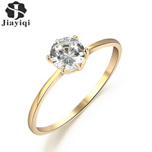 Jiayiqi(Jiayiqi) Simple Design Copper Crystal Rings Romantic Charms Rings Trendy Love Rings Anniversary Gift Jewelry For Women