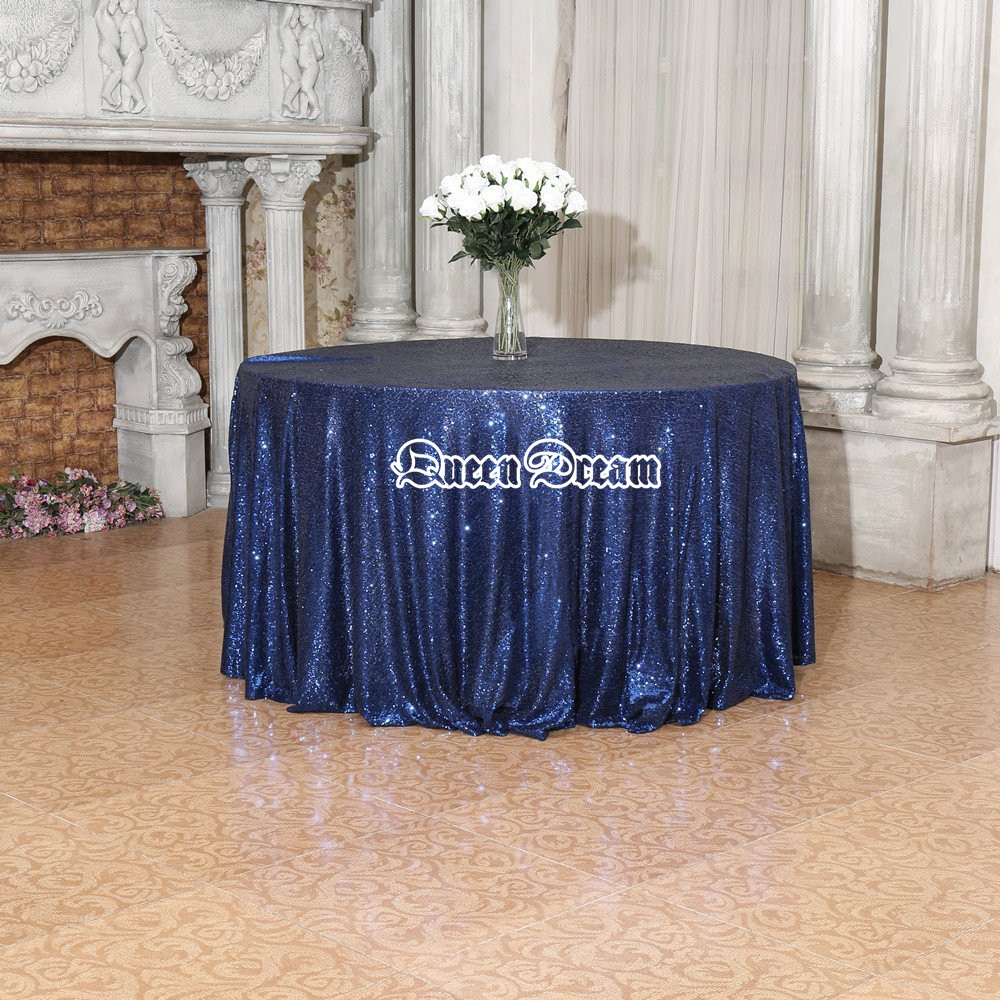 Diameter 120 In. 300cm Round Sequin Tablecloth Navy For Wedding Event  Decoration Sequin Table Cloth