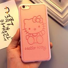 Fashion PU Leather Cartoon Mickey Cases For iPhone 7 6 6S Plus Soft Cute Hello Kitty Panther Case for iPhone 6 phone cases capa(China)
