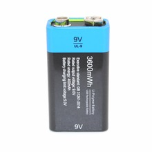 NEW BRAND Etinesan 9V 3600mWh lithium lipo li-ion rech USB Rechargeable battery(China)