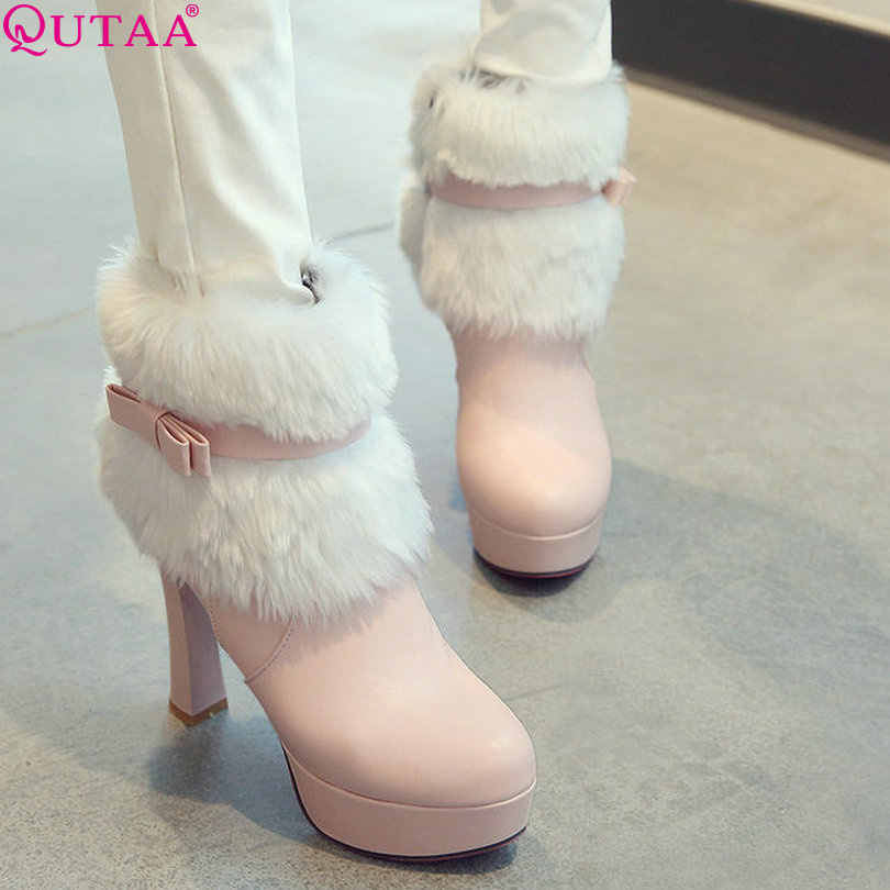QUTAA Pink Round Toe Solid Zipper PU Leather Winter Square High Heel Fur Ankle Boots Women Motorcycle Boot Size 34-43<br><br>Aliexpress