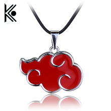 free shipping Japanese Anime Cosplay Naruto Akatsuki organization red cloud sign metal pendant necklace(China)
