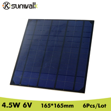 SUNWALK 6pcs 4.5W Mono Solar Cell Panel 750mA DIY 6V Solar Panel for Mini Solar System DIY and Education 165*165mm