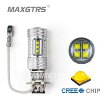 2x H3 H1 30W 50W 80W CREE Chip LED White/Red/Amber Car Headlight Fog Lights DRL Daytime Running Lamp Replacement Bulb 6000K