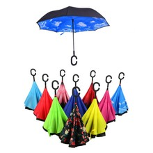 High-Quality C-Type Reverse Waterproof Umbrella Hands-Free Windproof Sun Umbrella Novelty Double Layer Umbrella For Car/Walk(China)