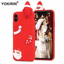 YOKIRIN 3D Christmas Santa Claus Case For iPhone X 8 7 5 5S SE 6 6S Plus Socks Soft TPU Lying Animal Phone Back Silicone Cover