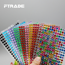 Discount Promotion Personality Fashion 3mm 4mm 5mm 6mm Crystal Sticker Car Phone Motorcycle Wall Self Adhesive Acrylic Stickers