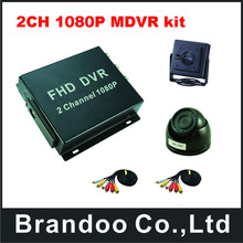 2CH 1080P mobile DVR kit,with 1pcs dome camera and 1pcs pinhole lens sqaure camera(China)